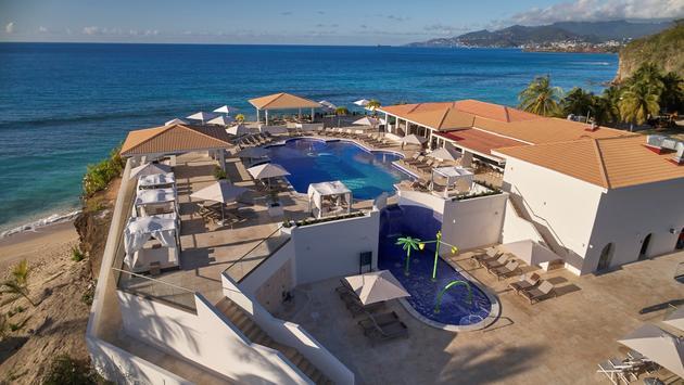 The main pool area overlooking the ocean at the Royalton Grenada Resort.