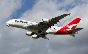 A Qantas Airbus A380 in mid-flight