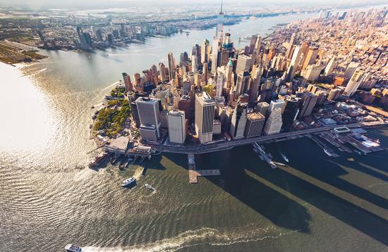 Aerial view of lower Manhattan, New York City