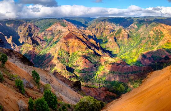 Panoramic landscape view of Waimea Canyon on Kaua'i.