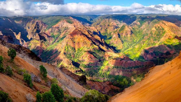 Panoramic landscape view of Waimea Canyon on Kaua'i.