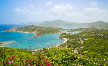 Antigua, English Harbour panoramic view with boats and yachts