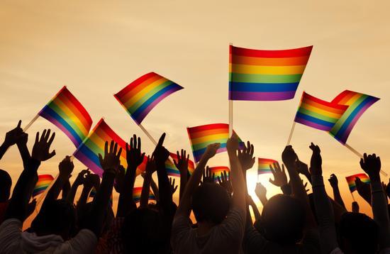 Group of People Waving Gay Pride Flags