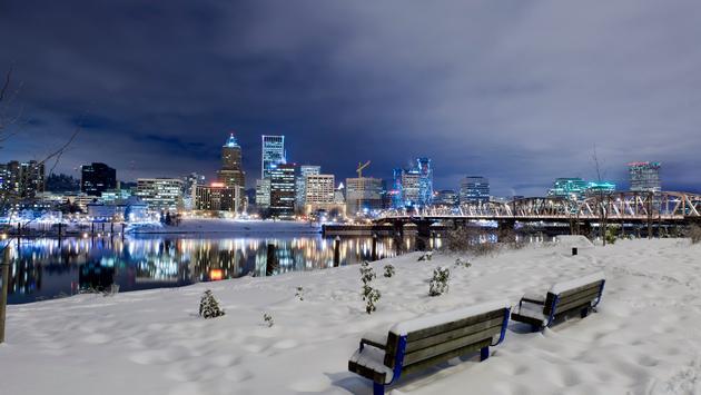 Winter scene in Portland, Oregon