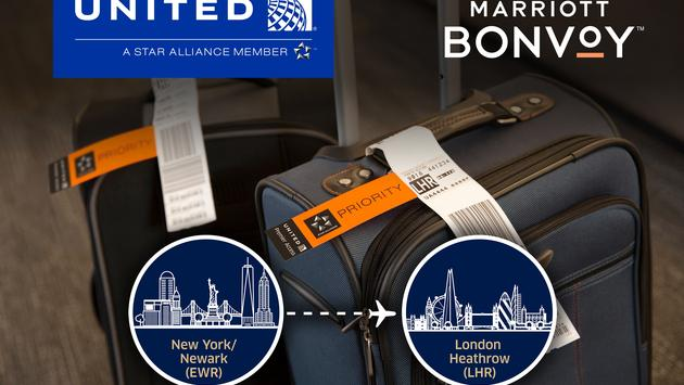 United Airlines partners with Marriott to offer the industry's first complimentary baggage delivery service.