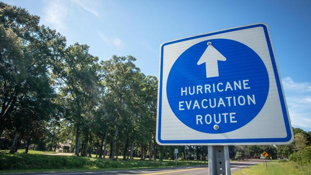 A sign directs hurricane evacuees to safety