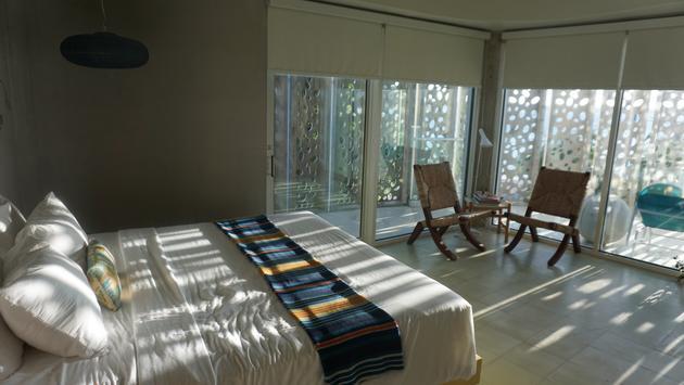 Room at El Blok Hotel in Vieques.