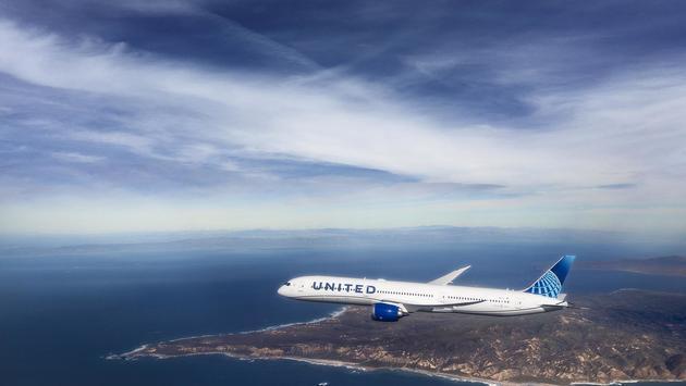 United airplane in flight.