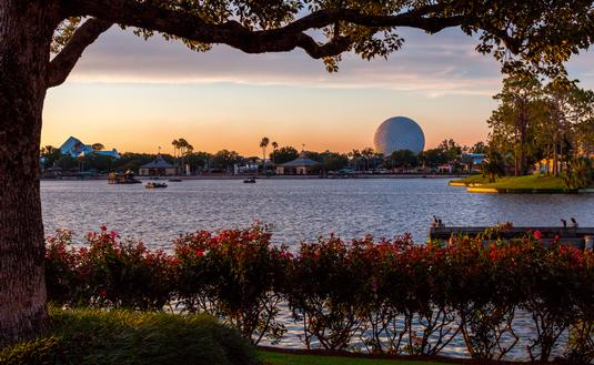 Epcot at Walt Disney World Resort at sunset