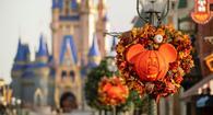 The Magic Kingdom at Walt Disney World decorated for fall.