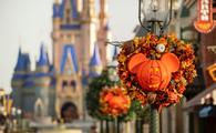The Magic Kingdom at Walt Disney World decorated for fall.