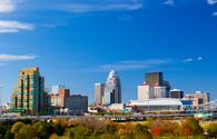 Louisville, Kentucky skyline during the fall