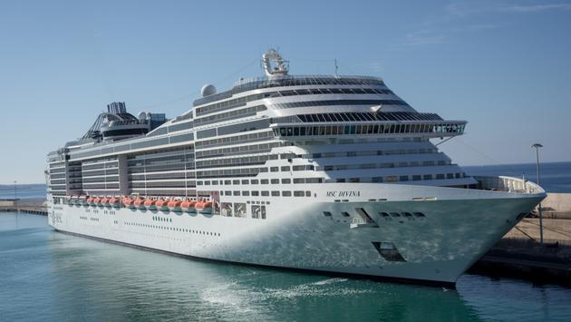 MSC Divina cruise ship docked in Europe