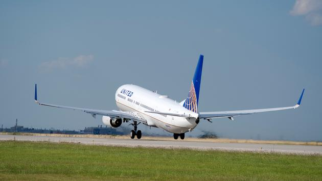United Airlines plane taking off.