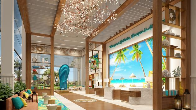 Rendering of the lobby at Margaritaville Island Reserve Cap Cana by Karisma