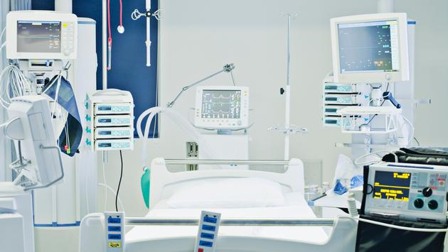 Hospital bed in an Intensive-care setting.