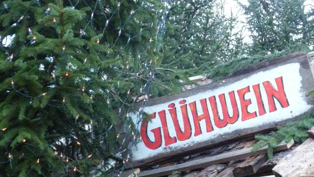 Gluhwein sign at Christmas market