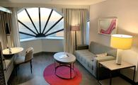 View of junior suite living room at San Francisco Marriott Marquis