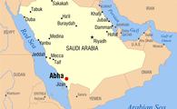 Map of Abha in southwestern Saudi Arabia