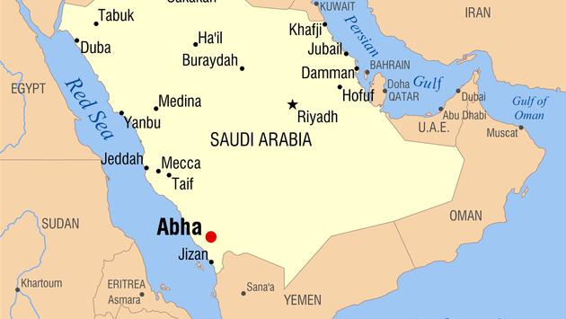 Map of Abha in southwestern Saudi Arabia