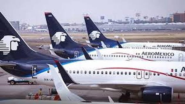 Aviones de Aeroméxico estacionados. Foto de Aeroméxico)