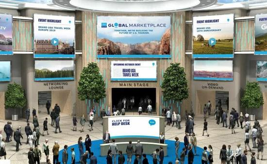 Brand USA Global Marketplace virtual event space.