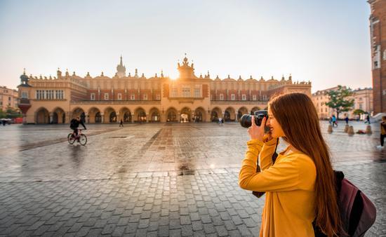 Female tourist in the center of Krakow