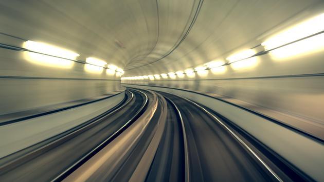 Underground tunnel in blurred motion
