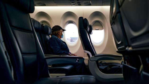 face mask on plane