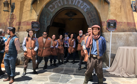 Cast members line up outside Oga's Cantina at Star Wars: Galaxy's Edge in Disneyland