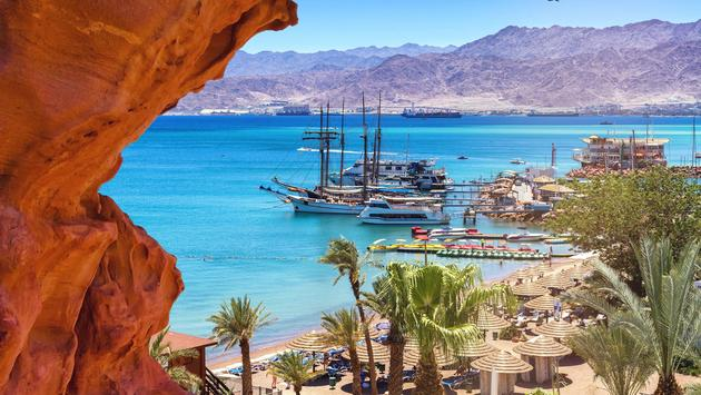 Marina of Eilat at sunny summer day