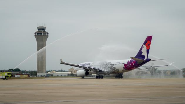 Hawaiian Airlines Airbus A330 aircraft on its inaugural takeoff from Texas' Austin-Bergstrom International Airport (AUS).