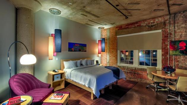 Room design at CANVAS Hotel Dallas