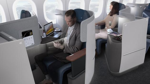A rendering of Lufthansa's new Business Class, premiering with the arrival of the German airline's first Boeing 777-9 aircraft in 2020.