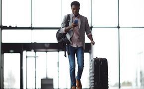 Man walking into airport
