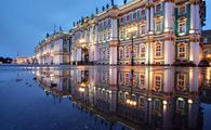 The former Winter Palace, which now houses the Hermitage Museum in St. Petersburg.