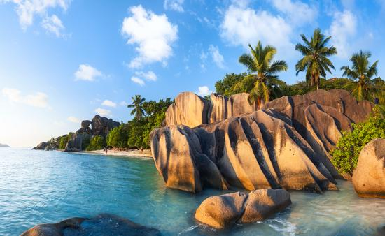 Panorama of Anse Source d'Argent in Seychelles