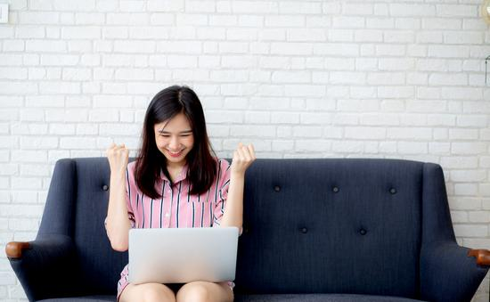 Young woman on laptop computer