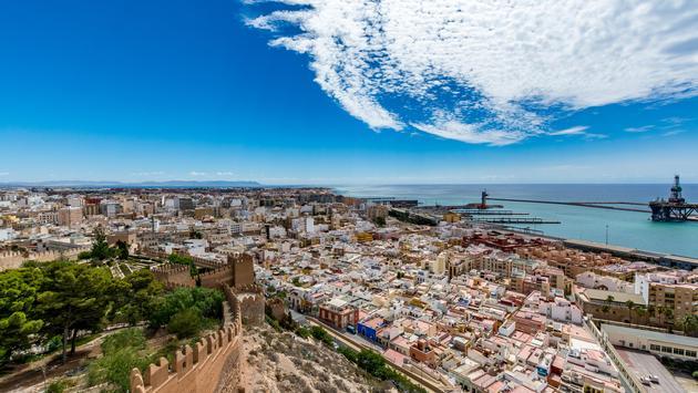 Panoramic cityscape of Almeria Spain