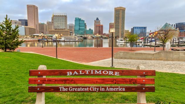 Early morning shot of Baltimore's Inner harbo. (photo via chrisstadlerphotography / iStock / Getty Images Plus)