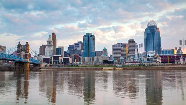 Cincinnati downtown panoramic overview at the sunset (Photo via AndreyKrav / iStock / Getty Images Plus)