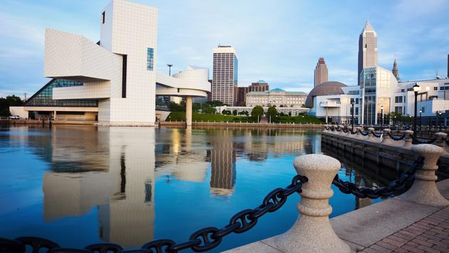 Cleveland seen morning time from the lakefront. (Photo via benkrut / iStock / Getty Images Plus)