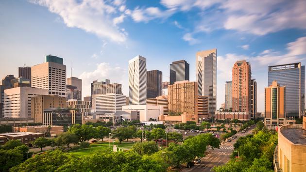 Houston Texas Skyline.  (photo via SeanPavonePhoto/iStock/Getty Images Plus)