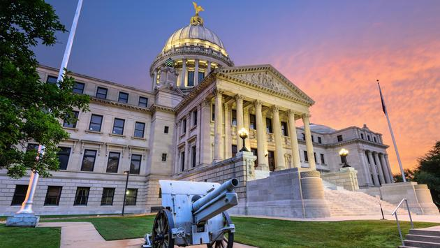 Mississippi State Capitol in Jackson, Mississippi, USA. (photo via SeanPavonePhoto / iStock / Getty Images Plus)
