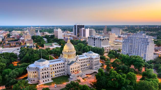 Jackson, Mississippi, USA cityscape at dusk. (photo via SeanPavonePhoto / iStock / Getty Images Plus)