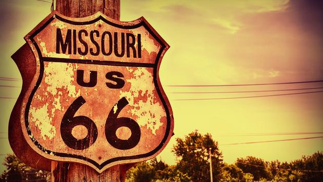Historic route 66 highway sign in Missouri, USA. (photo via StockPhotoAstur / iStock / Getty Images Plus)