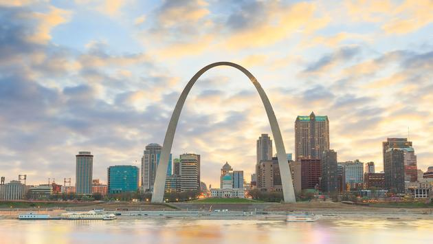 Gateway Arch in St. Louis, Missouri.