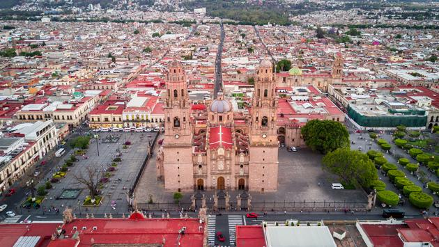 Cathedral of Morelia aerial. (photo via jose carlos macouzet espinosa / iStock / Getty Images Plus)