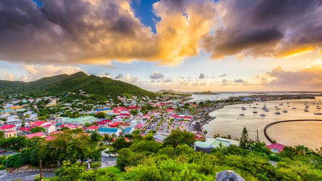 Marigot, Saint Martin town skyline in the Caribbean. (photo via SeanPavonePhoto / iStock / Getty Images Plus)
