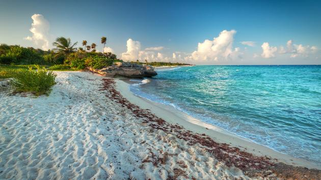 Idyllic beach of Caribbean Sea in Riviera Maya Beach (Photo via Mustang_79 / iStock / Getty Images Plus)